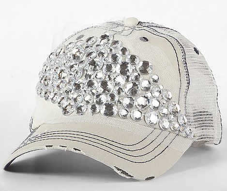 White Rhinestone Baseball Caps For Wome