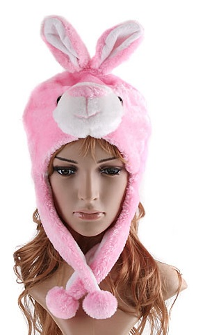 Pink Funny Bunny Party Hats