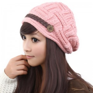 pink knitted hats for women